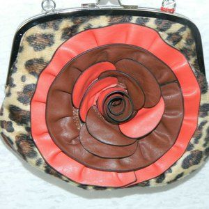 Lavive Purse Brown Red Animal Print with 3D Flower